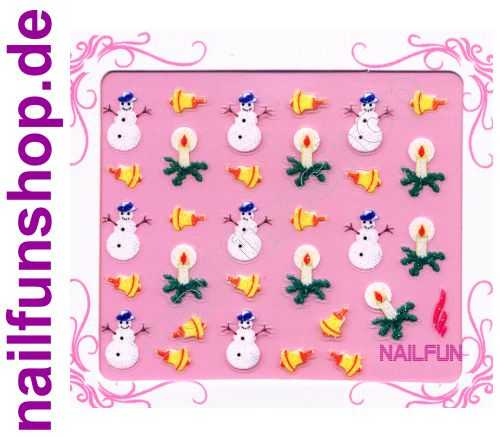 NAILFUN Weihnachten-Sticker 3D CR-06 selbstklebend Nailsticker Christmas-Sticker Nailtattoo Nail-Tattoo Weihnachten Weihnachtssticker Chrsitmas XMAS