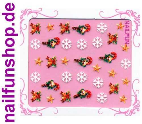 NAILFUN Weihnachten-Sticker 3D CR-09 selbstklebend Nailsticker Christmas-Sticker Nailtattoo Nail-Tattoo Weihnachten Weihnachtssticker Chrsitmas XMAS