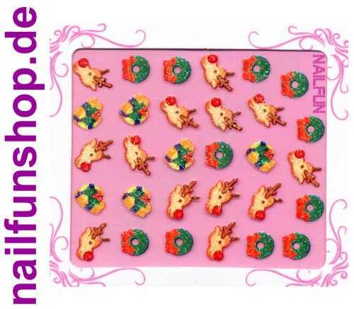 NAILFUN Weihnachten-Sticker 3D CR-12 selbstklebend Nailsticker Christmas-Sticker Nailtattoo Nail-Tattoo Weihnachten Weihnachtssticker Chrsitmas XMAS
