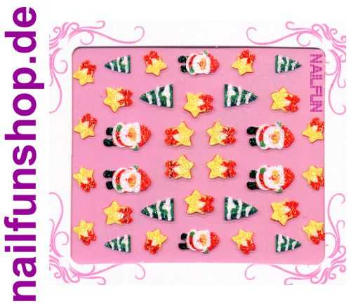 NAILFUN Weihnachten-Sticker 3D CR-13 selbstklebend Nailsticker Christmas-Sticker Nailtattoo Nail-Tattoo Weihnachten Weihnachtssticker Chrsitmas XMAS