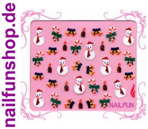 NAILFUN Weihnachten-Sticker 3D CR-14 selbstklebend Nailsticker Christmas-Sticker Nailtattoo Nail-Tattoo Weihnachten Weihnachtssticker Chrsitmas XMAS