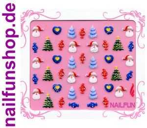 Weihnachten-Sticker 3D CR-16 selbstklebend Nailsticker Christmas-Sticker