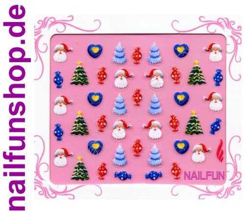 NAILFUN Weihnachten-Sticker 3D CR-16 selbstklebend Nailsticker Christmas-Sticker Nailtattoo Nail-Tattoo Weihnachten Weihnachtssticker Chrsitmas XMAS
