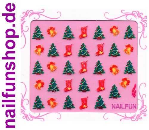 NAILFUN Weihnachten-Sticker 3D CR-19 selbstklebend Nailsticker Christmas-Sticker Nailtattoo Nail-Tattoo Weihnachten Weihnachtssticker Chrsitmas XMAS