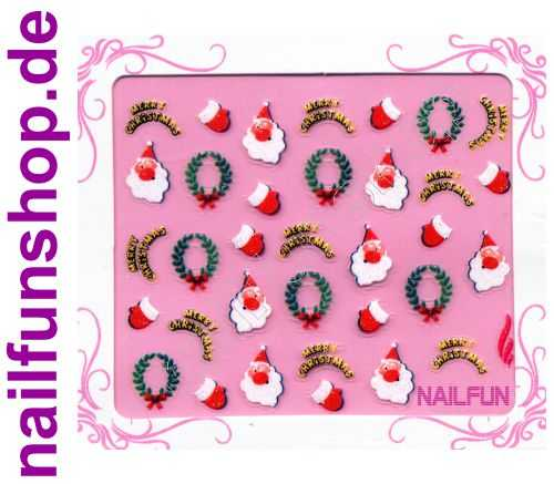 NAILFUN Weihnachten-Sticker 3D CR-22 selbstklebend Nailsticker Christmas-Sticker Nailtattoo Nail-Tattoo Weihnachten Weihnachtssticker Chrsitmas XMAS