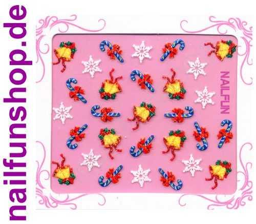 NAILFUN Weihnachten-Sticker 3D CR-23 selbstklebend Nailsticker Christmas-Sticker Nailtattoo Nail-Tattoo Weihnachten Weihnachtssticker Chrsitmas XMAS
