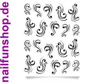 1 Bogen One Stroke Sticker D-101 schwarz Ornamente Nailsticker Nailart