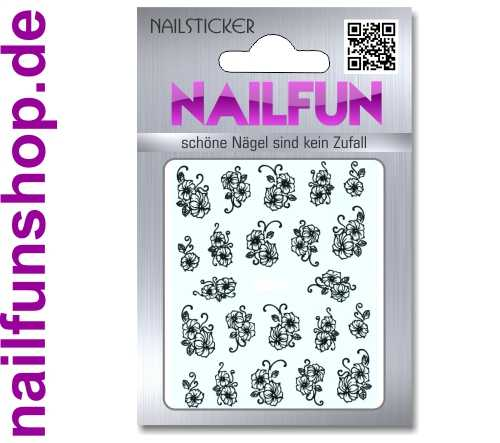 1 Bogen One Stroke Sticker D125 Nailsticker schwarz/weiss Nail-Tattoo