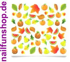 1 Bogen One Stroke Sticker C044 Früchte Obst Nailsticker Nailart Nail-Tattoo
