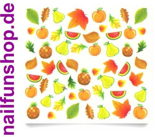 1 Bogen One Stroke Sticker C044 Früchte Obst Nailsticker Nailart Nail-Tattoo