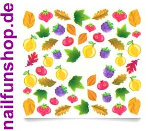1 Bogen One Stroke Sticker C045 Früchte Obst Nailsticker Nailart Nail-Tattoo