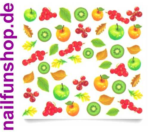 1 Bogen One Stroke Sticker C046 Früchte Obst Nailsticker Nailart Nail-Tattoo