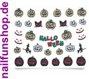 1 Bogen 3D Glitzer Halloween Sticker BLE921D Nailsticker Nailart Nail-Tattoo