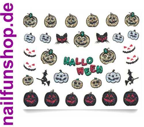 1 Bogen 3D Glitzer Halloween Sticker BLE921D Nailsticker Nailart Nail-Tattoo