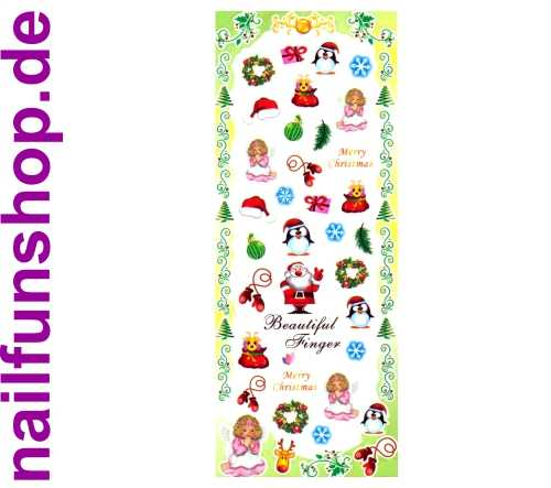 1 Bogen One Stroke Sticker HOT-196 Nailsticker Weihnachten Christmas Nail-Tattoo