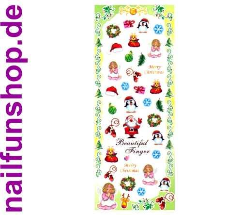 1 Bogen One Stroke Sticker HOT-196 Nailsticker Weihnachten Christmas Nail-Tattoo