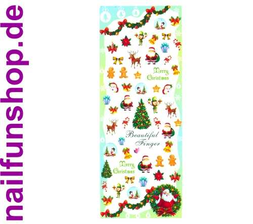 1 Bogen One Stroke Sticker HOT-198 Nailsticker Weihnachten Christmas Nail-Tattoo