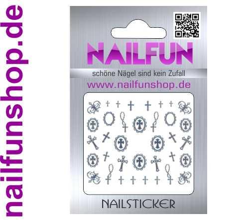 1 Bogen selbstklebende Nailsticker TY076 silber Kreuz Kreuze Nailart Nail-Tattoo