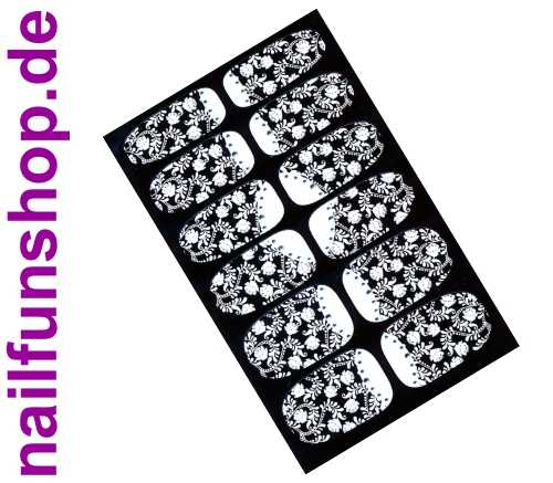 Nailsticker Wraps ZX831 weiss mit Glitter-Points