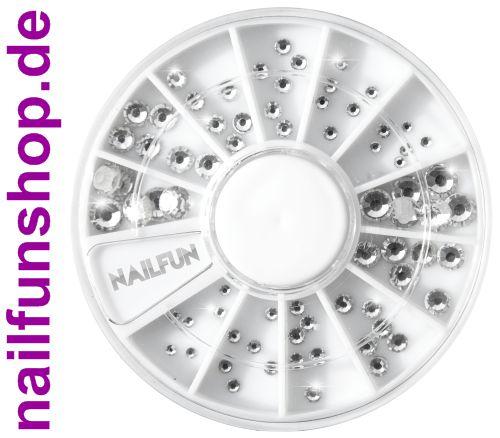 72 Strasssteine Kristall im Rondell Größe 1,5-5 mm in höchster Nailart Qualität