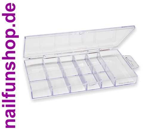 100er Sortierbox Acryl mit 11 Fächern (leer) - glasklar - Tipbox mit Klappdeckel