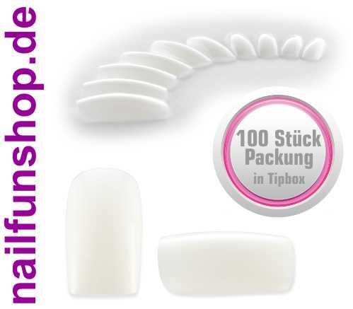 100 Fullsize Fingernägel (Tips) natur weiss ohne Anklebefläche in Tipbox