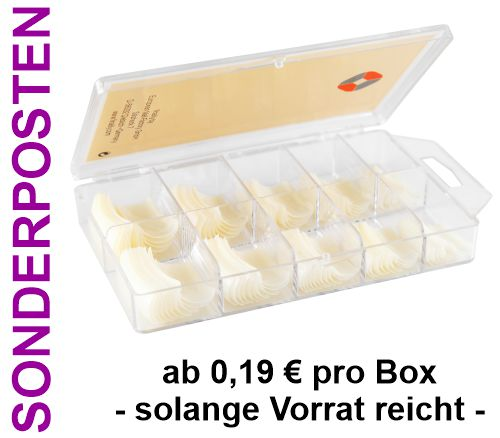 ca. 100 Stück Square Tips natur (ABS) mit leichter C-Kurve [FINAILLY] in Box