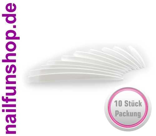 10 x XXL Stiletto Tips Natur mit Anklebefläche - Länge: 6,6 bis 9,2 cm