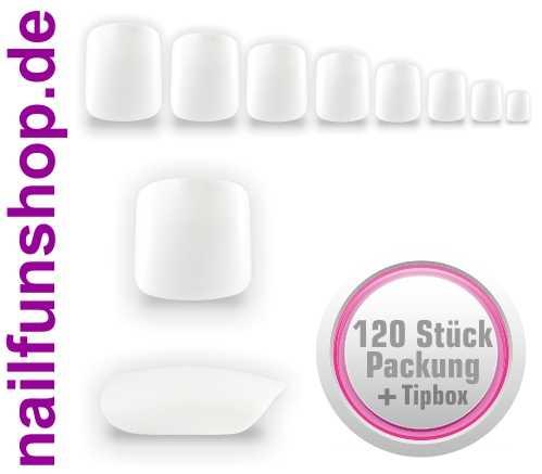 120 Fullsize Zehennägel (Tips) natur weiss mit Aufbewahrungsbox