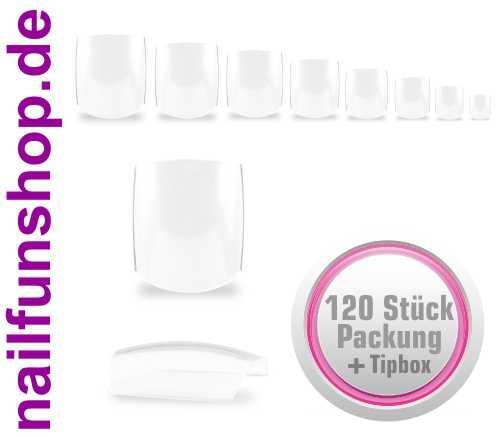 120 Fullsize Zehennägel (Tips) klar transparent mit Aufbewahrungsbox