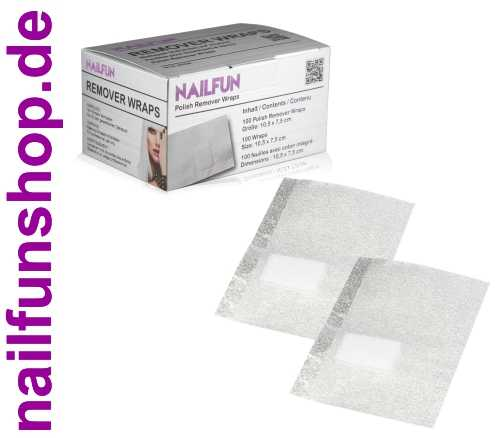 100 Remover Wraps - Watte-Pad auf Alufolie - für die Entfernung von Gellack u.a.