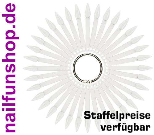 Tipfächer Stiletto klar mit 36 Präsentations-Stäbchen und Metallring
