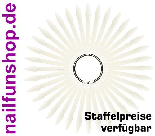 Tipfächer Stiletto natur mit 36 Präsentations-Stäbchen und Metallring