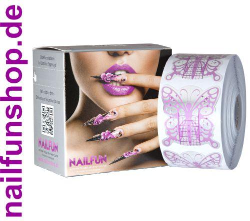 500 selbstklebende Modellierschablonen Butterfly silver purple + Spenderbox