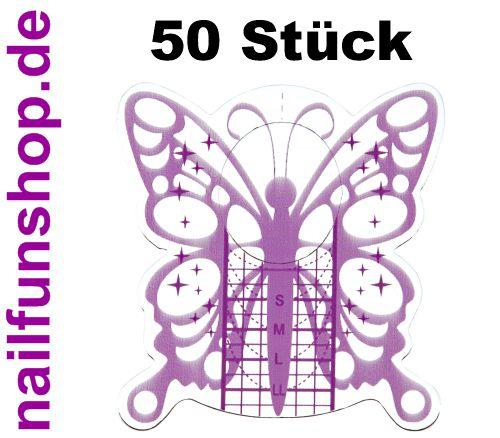 50 selbstklebende Modellierschablonen Butterfly silver purple