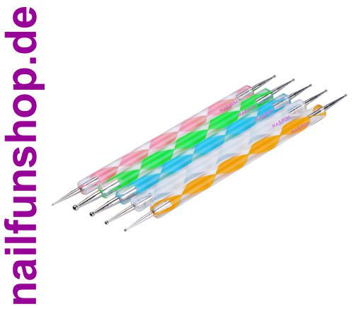 5er Pack NAILFUN Swirtool Spotswirl 5 verschiedene Farben und Größen