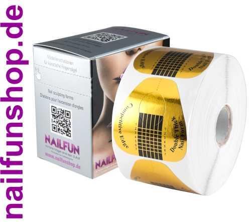 500 selbstklebende Double-Thick Modellierschablonen extrabreit Gold + Spenderbox