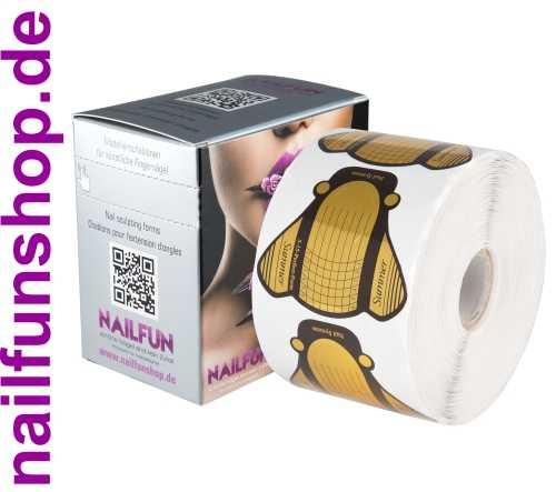 500 selbstklebende Modellier Schablonen Butterfly Gold extrabreit + Box